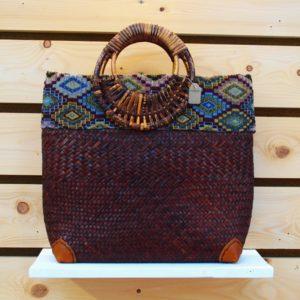 Handgeweven handgemaakt rieten boodschappentas handtas metiisto fashion gouden eik boutique