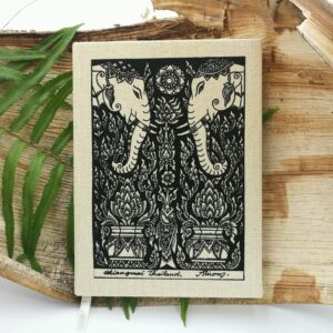 Metiisto Fashion Diary Handmade Paper and Cotton Cover with elephant motif on Banana and Fern Background