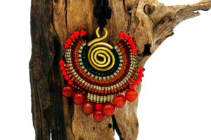 Waxcord Knotted Jewelry in Thailand example Red beaded pendant