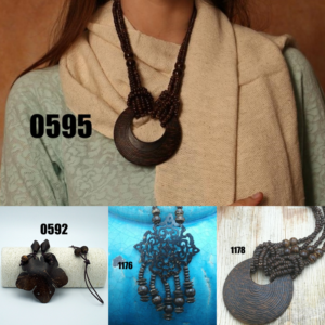 Collage picture of Coconut Wood Necklace Models 0592, 0595, 1176, and 1178.