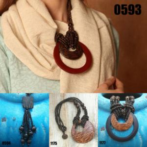 Collage picture of Coconut and Wooden Necklace Models 0593, 0594, 1175, and 1177.